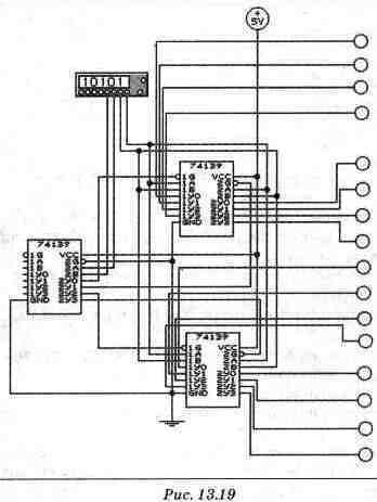Разработайте и соберите при помощи Electronics Workbench схему дешифратора 4х16 на основе ДВУХ базовых дешифраторов...