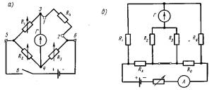 Мостовые схемы постоянного тока, применяемые для измерения сопротивлений.  Рис. 340.