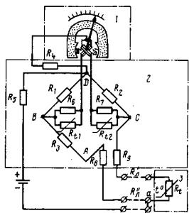 Принципиальная схема электрического термометра с терморезисторным датчиком.